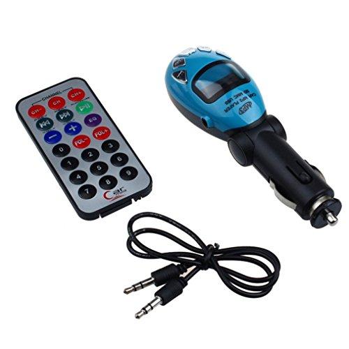 DZT1968 Hot LCD Wireless FM Transmitter Car Kit MP3 Player Support USB SD MMC Slot 135X40X35mm (Blue)