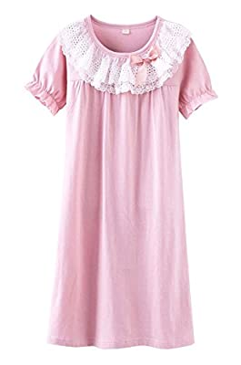 BAIYIXIN Fashion Store Girls Princess Lace Bowknot Nightgown Summer Cotton Sleepwear Dress Long Shirt(3y-13y)