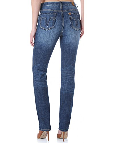 Wrangler Women's Aura Instantly Slimming Booty Up Straight Leg Jeans Indigo 22 S - Jeans Slimming Instantly Aura