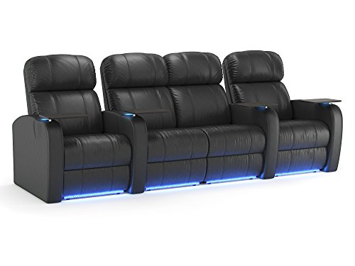Octane Seating Diesel XS950 Theatre Seats Black Top-Grain Leather - Power Recline - Straight Row 4 with Loveseat 4 Leather Home Theater