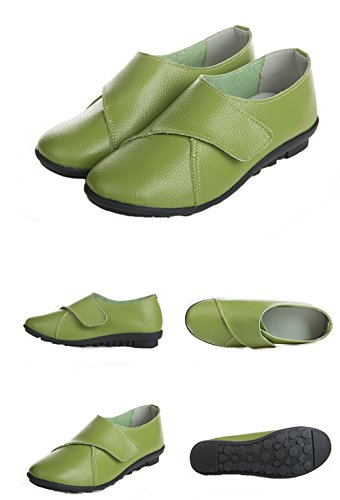 WUIWUIYU Women's Leather Soft Shoes Comfort Flat Green Casual T4q4xUS