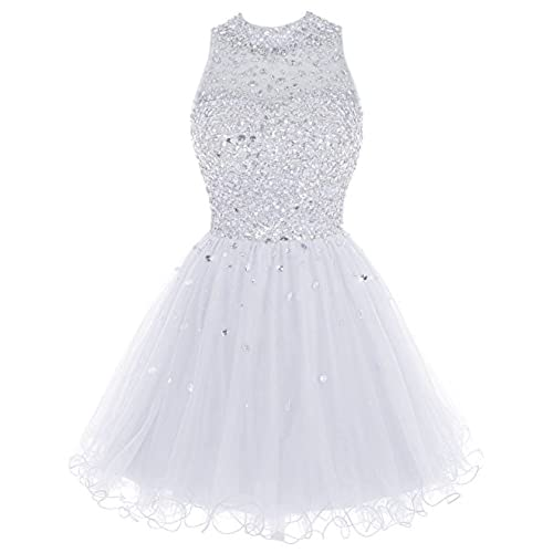 Bbonlinedress Short Tulle Beading Homecoming Dress Prom Gown White 14