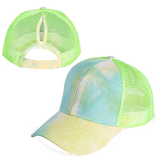 VARWANEO Unisex Baseball Caps Ripped Peaked Cap Adjustable Sport Caps Women Cross Ponytail Cotton Mesh Sun Hat