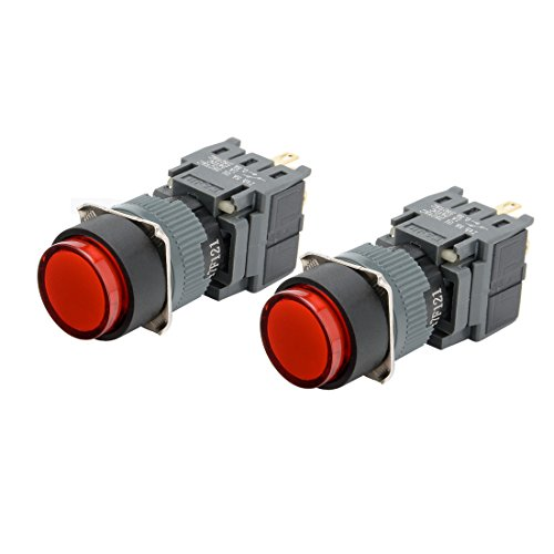 16 Led 24v Mm (uxcell 2pcs Momentary Push Button Switch 250V Round Head 16mm Mounting Dia SPDT 1NO 1NC with 24VDC Red LED Light)