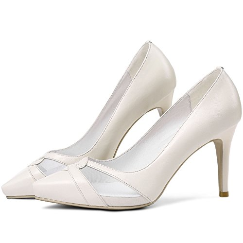 Vimisaoi Aguzza Delle Eleganti Vestito Chiffon Scarpe Di Bianco Alti Punta Donne Di Pompe Ritagli Cuoio Tacchi Crema FFSqwr8x