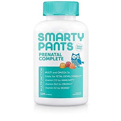 SmartyPants Prenatal Complete Daily Gummy Vitamins: Gluten Free, Multivitamin & Omega 3 Fish Oil (DHA/Epa Fatty Acids), Folate (methylfolate), Vitamin D3, Non- GMO, 120 Count (20 Day Supply)