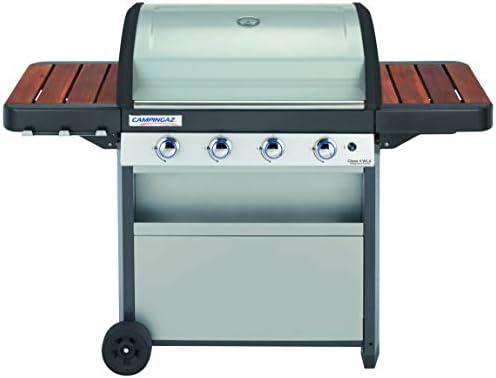 Campingaz Barbecue à Gaz Class 4 WLX, 4 Brûleurs, Puissance 12.8KW, Système de Nettoyage Facile Instaclean, Grille et Plancha, 2 Tablettes Latérales