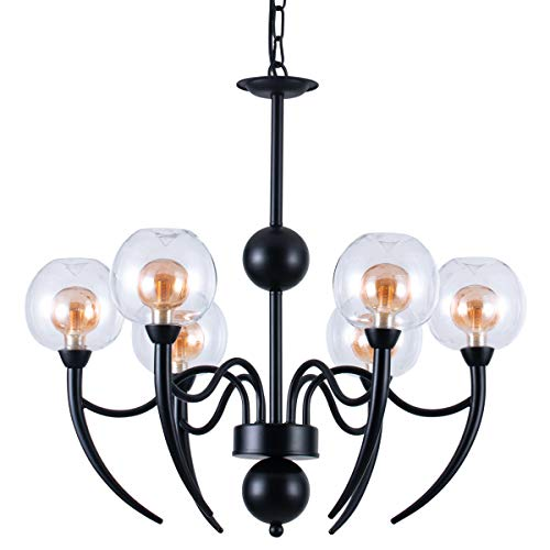 Unique Chandelier Shades - Industrial 6-Light Pendant Lighting with Unique Glass Shades, Black Chandelier with an Adjustable Chain, Lighting Fixtures Ceiling Chandelier for a Farmhouse, Bathroom, Kitchen, Living Room, Hotel
