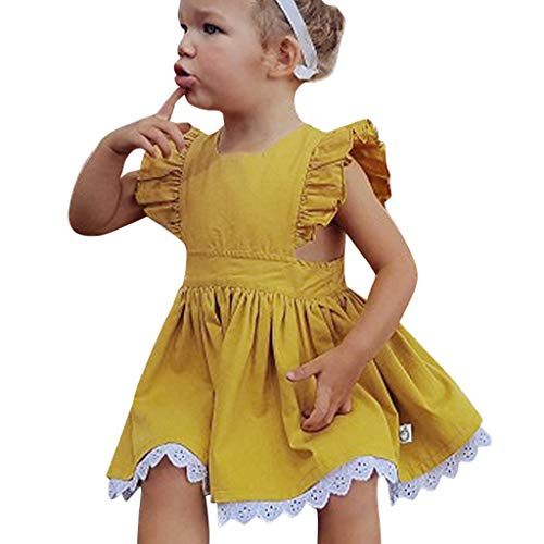 WOCACHI Toddler Kids Baby Girls Lace Dresses Ruffle Flutter Sleeve Back Button Decor Solid Color Mini Skirt Pleated Swing Outfits Clothes Sunsuit Onesies 2019 Summer Daughter Birthday Party Sleepwear