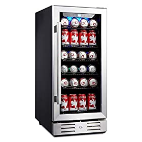 Kalamera 15″ Beverage Cooler 96 can Built-in or Freestanding Touch Control Beverage Fridge with Blue Interior Light