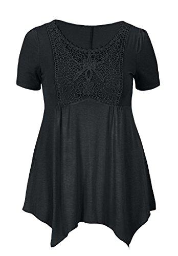 Roamans Women's Plus Size Crochet Trim Empire Tunic Black,4X