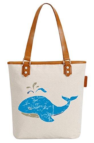 So'each Women's Marine Animal Whale Top Handle Canvas Tote Shoulder Bag