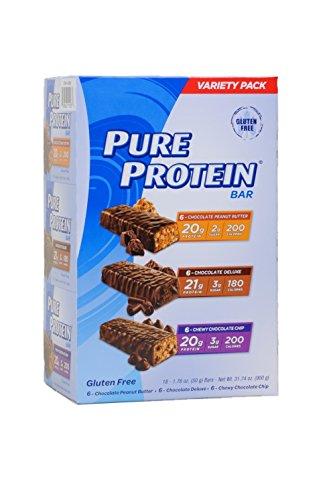 Чистый высоким содержанием белка Бар, Разнообразие Pack (6 Шоколад Арахисовое масло, 6 Жевательные Шоколад Чип, 6 Шоколад Duluxe), 31,74 унций (18 Граф 1,76 Оз баров)