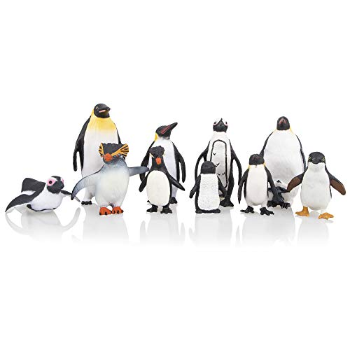 TOYMANY 10PCS Cute Realistic Penguin Figurines, Polar Animal Figures Antarctic Set with Different Varieties of Penguin, Educational Toy Cake Toppers Christmas Birthday Gift for Kids Toddlers