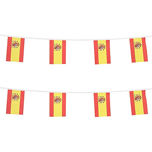 KalaBear Spain Flags,Spanish National Country World Pennant String Flags Banners For Party Events Decorations Classroom Garden Olympics Festival Grand Opening Bar Sports Clubs ()