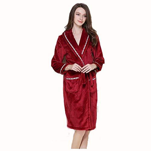 L A Amantes Red Franela A Tamaño Mujeres Larga Bata Pijamas Servicio Otoño E Domicilio color Axianqi Engrosamiento Invierno UnwgTPHq