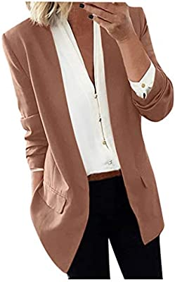 Women Ladies Long Sleeve Solid Cardigan Casual Blazer Suit Jacket Coat Outwear