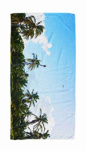 EMMTEEY Bath and Beach Towel,Panoramic Ocean Palm Tree Beach Trees Against Blue Sky Republic Punta Cana Bavaro Dominican 30x60Inch Microfiber Oversized Large Quick Dry Swimming Pool Towel,Ivory Black
