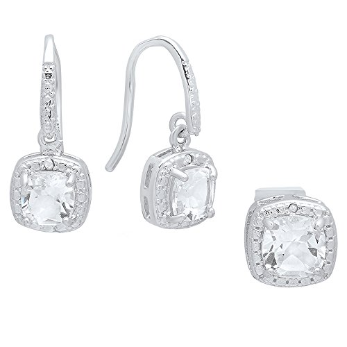 (Dazzlingrock Collection Cushion White Topaz & Round Diamond Accent Ladies Dangling Earrings & Pendant Set, Sterling Silver)