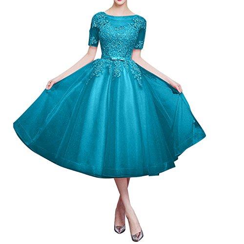 Brautmutterkleider Marie Partykleider Spitze Kurzarm Glamour Braut Tuerkis Wadenlang La Traube Abendkleider wd0U6wq