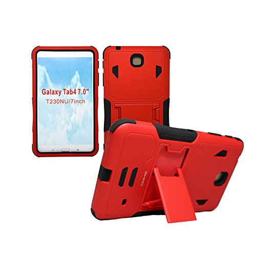 [iRhino] TM BLACK-RED Heavy Duty rugged impact Dual Layer Hybrid Case cover with Build In Kickstand Protective Case cover For Samsung galaxy Tab 4 7 inch T230 Tablet case cover