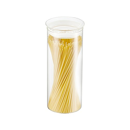 ZENS Glass Storage Jar with Glass Lid & Silicon Ring, Large Food Storage Container, Canisters 56.5oz/1650ml for Spaghetti Pasta, Tea, Coffee, Cookies, Snacks