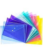 Plastic Folders A4, 12pcs Plastic Wallets File Document Folders Holder, 6 Colors