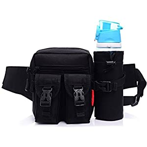 ChezMax Tactical Waist Pack Bag/ Fanny Pack/Hip Belt Bag with Separate Water Bottle Pocket Holder, Black