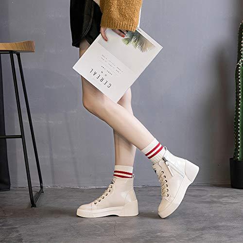 Shukun Stiefeletten Weiße Schuhe Weibliche Lackleder Cavity-Einstellung Flache Unterseite Hoch Frauen Schuhe Kurze Stiefel Mit Martin Stiefeln