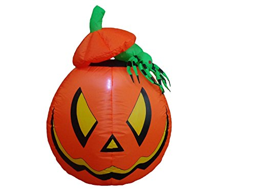 4 Foot Halloween Inflatable Lighted Pumpkin Jack-o-lanterns with Spider Yard Art Decoration (Halloween O Helloween)