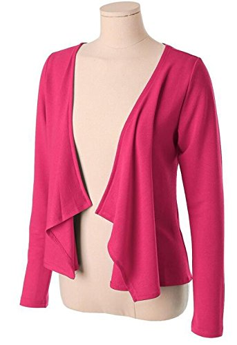 LemonGirl Womens Long Sleeve Irregular Hem Pocket Cardigan Tops Sizes 34-48 Rose