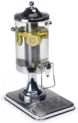 Displays2go Iced Beverage Dispenser with Drip Tray and Hands-Free Push Lever, 1.3 gal