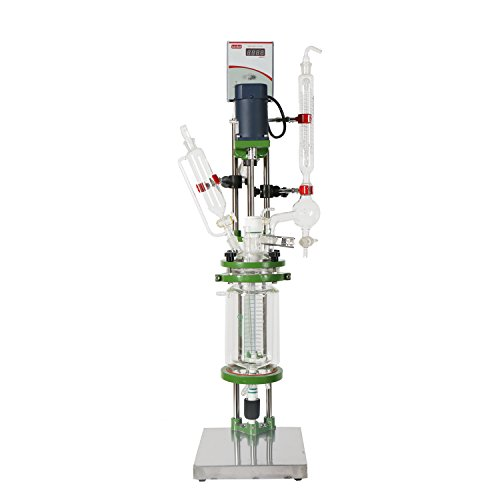 (lab1st 2L Small Jacketed Glass Chemical Reactor,Glass Reaction Vessel)