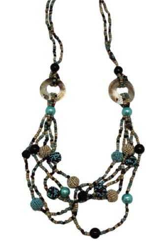 (Puka New Age South Western Multi Strand Stone Bead Necklace)