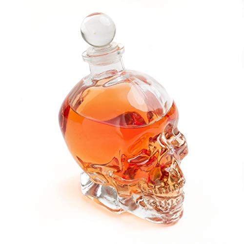Large Skull Face Decanter with 4 Skull Shot Glasses and Beautiful Wooden Base - By The Wine Savant Use Skull Head Cup For A Whiskey, Scotch and Vodka Shot Glass, 25 Ounce Decanter 3 Ounces Shot Glass by The Wine Savant (Image #1)