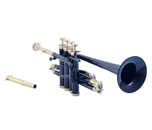 eMusicals Picollo Trumpet Bb Pitch With Free Hard Case And Mouthpiece, Black Colored by NASIR ALI