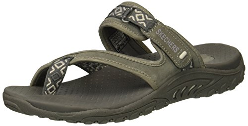 Skechers Womens Trailway Round Toe Casual Leather Flat Sandals