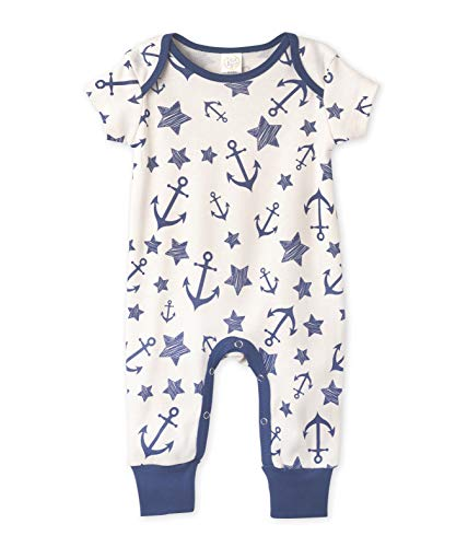 Tesa Babe Little Sailor Playsuit for Newborns, Baby Boys & Girls with Anchors Print (Navy Blue, 0-3 Months)
