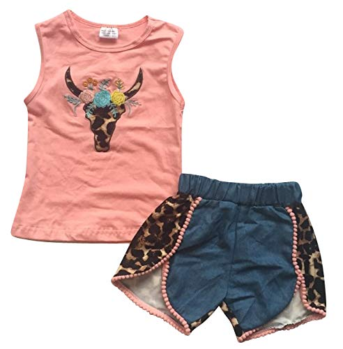 Unique Baby Girls Longhorn Bull Cow Tank Top Shorts Outfit Set (7/XXL) Peach -