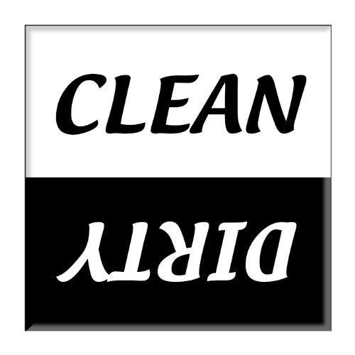 (Clean Dirty Dishwasher Magnet Sign Indicator - Plain Black and White Script Design)