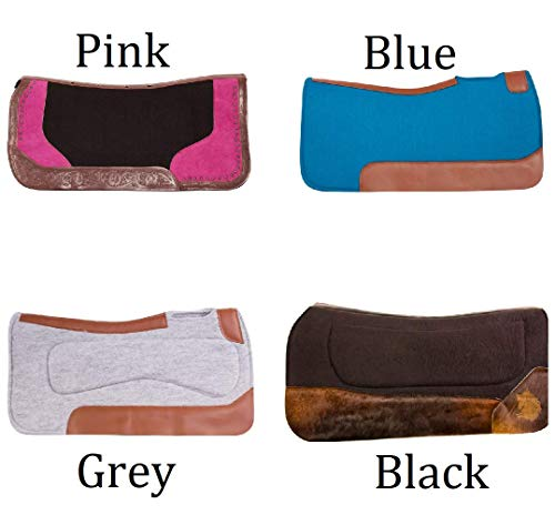 AceRugs Western Contoured Premium Horse Saddle Pads Gel with Relief Wool Felt Thick Orthopedic Blankets Non Slip (Blue)