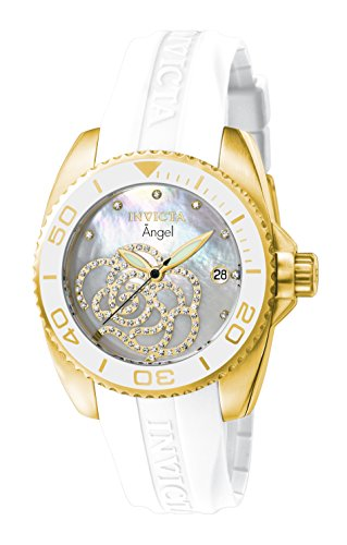 Invicta Women's 0488 Angel Gold-Tone Watch with White Polyurethane - Watch Women Invicta For