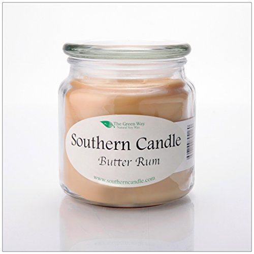 Butter Rum 16 oz Decorator Jar Natural Soy Wax Candle