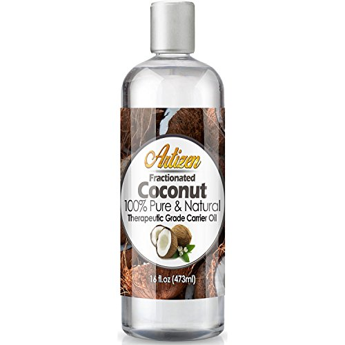 Fractionated Coconut Oil - 16oz (Ounce) Bottle (100% Pure & Natural) - Perfect Carrier Oil for Diluting Essential Oils - Work Great as a Massage Oil, Skin Moisturizer, and More! (Best Carrier Oil For Making Essential Oils)