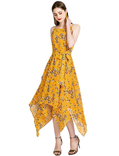 - Gardenwed Floral Print Sundresses for Women Spaghetti Strap Chiffon Summer Dress Asymmetrical Flowy Wedding Guest Party Dress Yellow Little Flower M