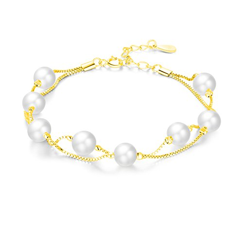 VALLE Swarovski Pearls Bracelets, Women Brass Bracelets,8 Pcs Simulate 6mm Round Yellow Gold Plated Two Layer Box Chain Linked (Gold Plated)