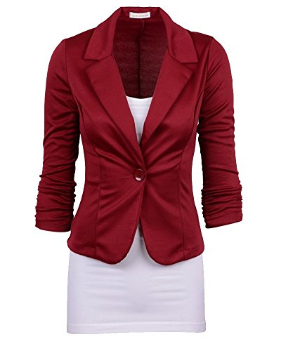 Moollyfox Blousons Single Casuel Femmes Rouge Breasted Suit Manteau Vin rwfqUrYx