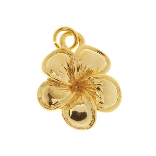 Gold Plated Flower Charm - Delight Beads 22K Gold Plated Tropical Plumeria Flower Charm 16mm (1)