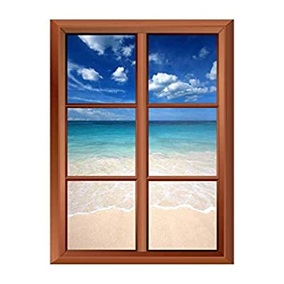 Delightful Object of Art, Removable Wall Sticker Wall Mural Tropical Beach and Clear Waves Creative Window View Vinyl Sticker, Classic Design