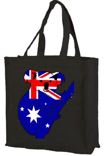 Australian Flag Koala Cotton Tote shopping bag Black